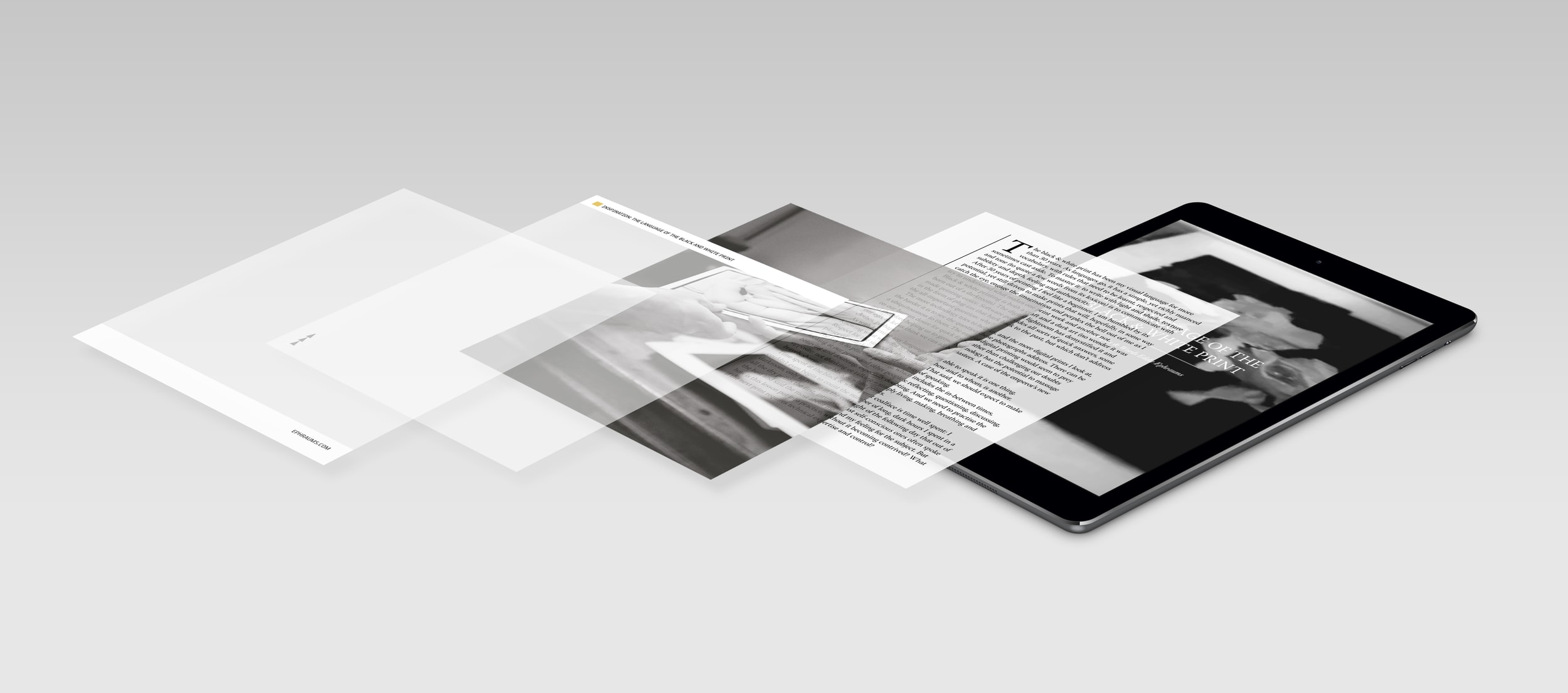 Black and White Photography Digital App Design